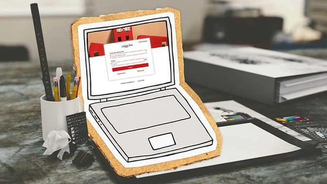 Illustrasjon av pc med innlogging til Styreportalen