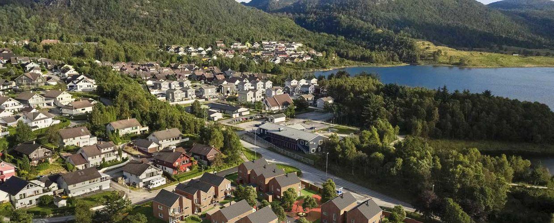 Illustrasjon av planlagte boliger på Maudland, Hommersåk