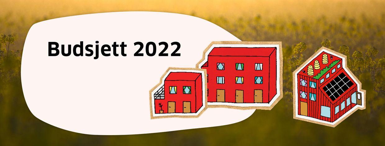 Illustrasjon av hus og tekst budsjett 2022