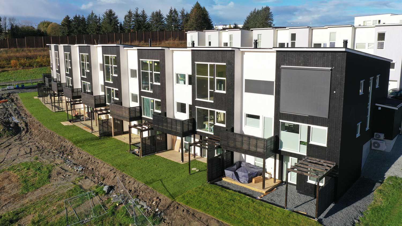 Overstiktsbilde av fine boliger på Hovemarka