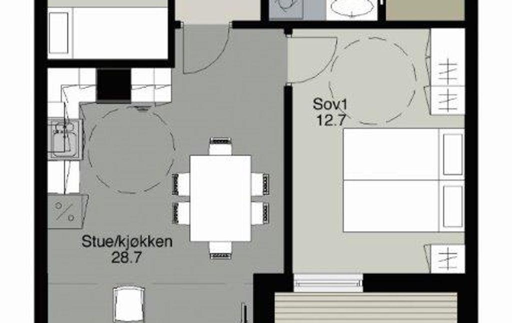 Skisse av plantegning på 3-roms leilighet, leie-eie, Goagarden