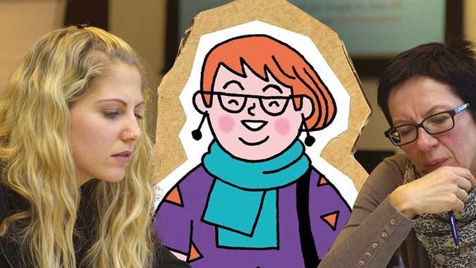 Illustrasjon av dame som deltar i møte