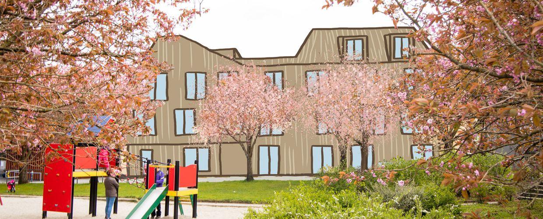 Kirsebærtrær, lekeplass og illustrasjon av bygg
