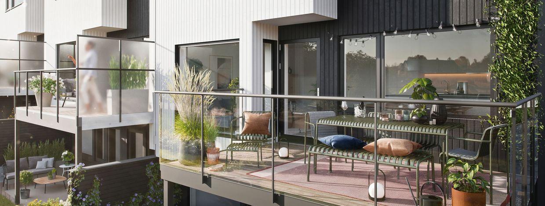 Illustrasjon av balkong på rekkehus på Hovemarka