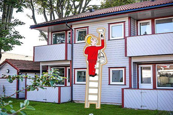 Illustrasjon av mann som maler husvegg