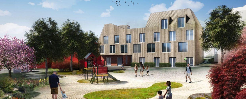Illustrasjon av byhus på Våland
