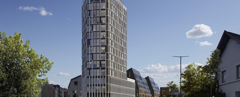 Høyhuset Mølletårnet mellom Jærveien og St. Olavs gate