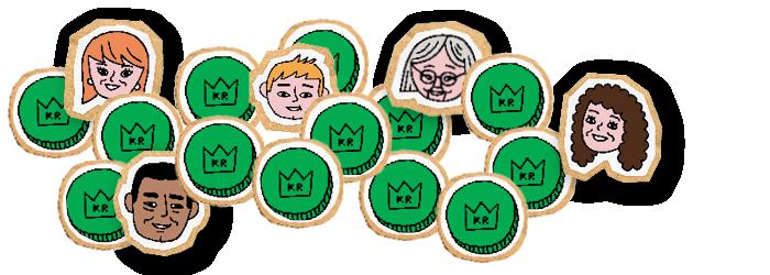 Illustrasjon av grønne kroner og hoder