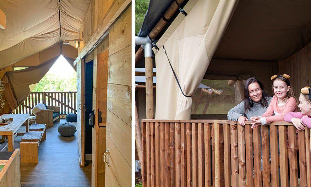 innvendig hyttetelt og balkong i BateLodge