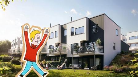 Illustrasjon av gutt foran nye boliger på Hovemarka
