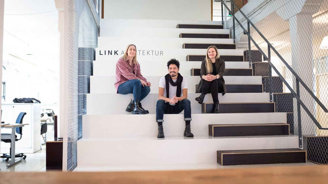 Fra venstre LINK-arkitektene Birgitte Lund Fredriksen, Fabian Fernandez og Marita J. Braathen