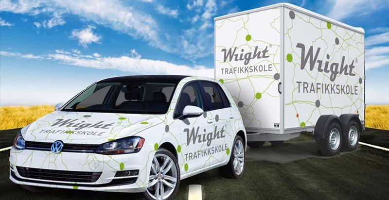 Wright trafikkskolebil med henger