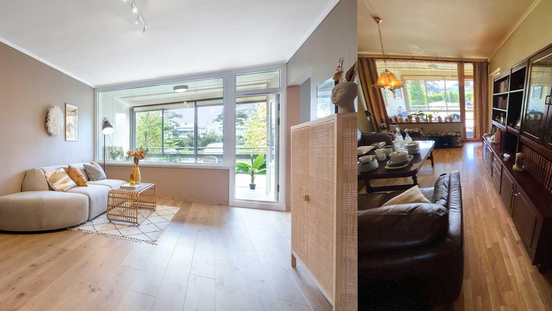 før og etter bilde av stuen i en bolig