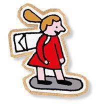 Illustrasjon av jente på flyvende skateboard