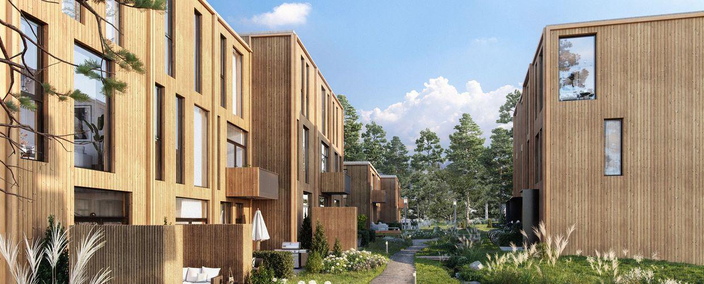 Rekkehusene er på to til tre etasjer og blir bygd i gode, naturlige materialer