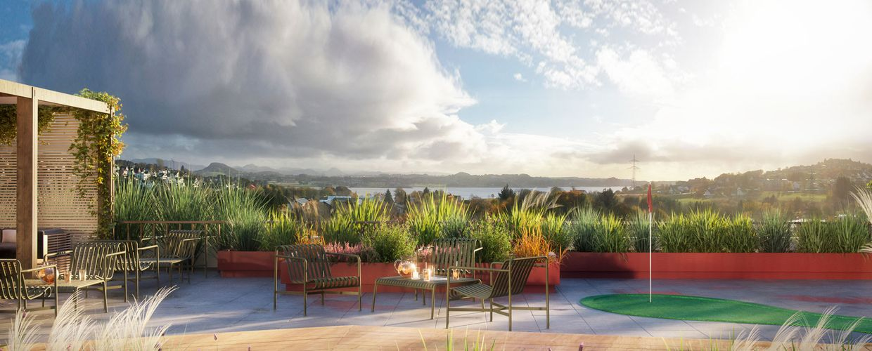Flott utsikt på toppen av leilighetsbygget, felles takterrasse