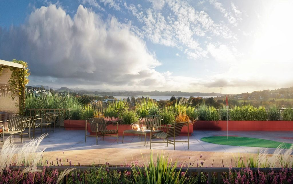 På toppen av leilighetsbygget kommer det en felles takterrasse på hele 150 kvm med magisk utsikt