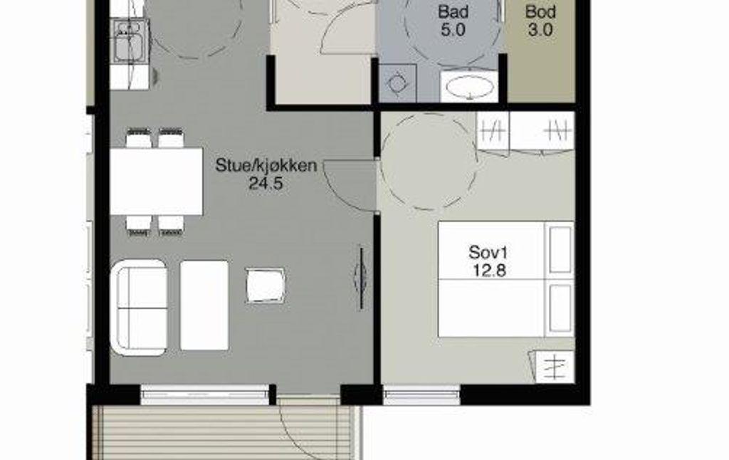 Skisse som viser rom-inndeling