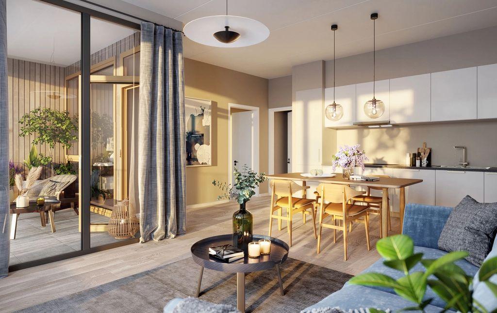 Alle leilighetene har utgang til gode, sydvendte terrasser/balkonger