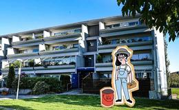 Illustrasjon av dame foran boligblokk