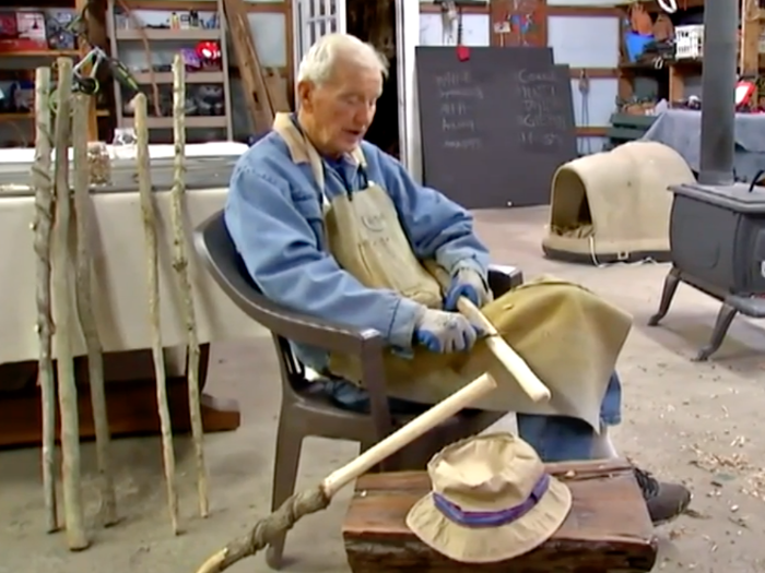 A 93-year-old veteran is whittling walking sticks to raise money for an Ohio food pantry