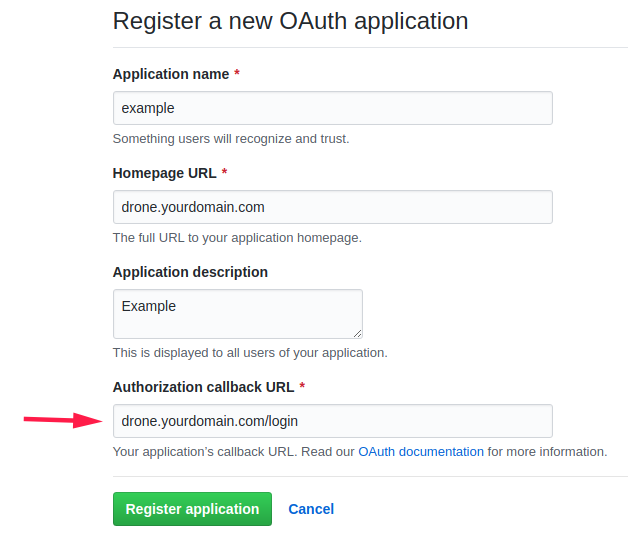 Fill in your information and make sure to set the Authorization callback URL to /login
