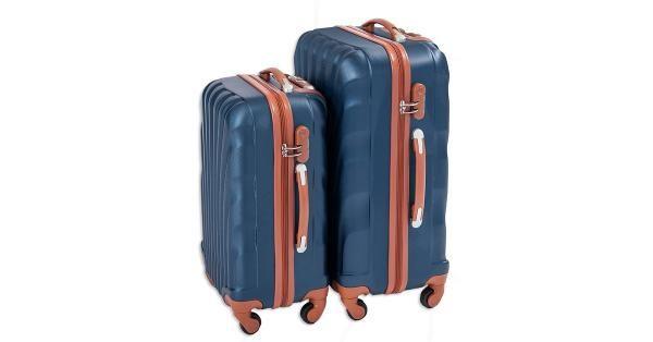 Koffertsett i blått og brunt