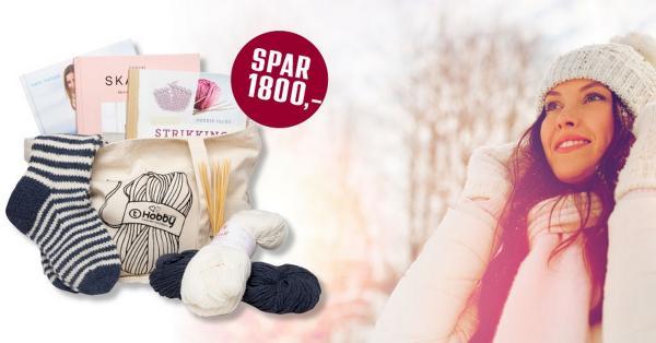 Strikkepakke med garn og oppskrift til Stripefot-sokker
