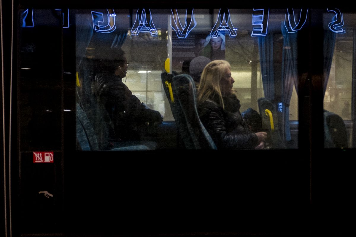 Busfenster in Stockholm