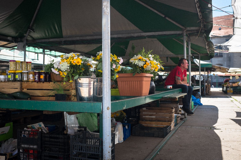 Marktstand mit Blumen und Selbstgemachtem im Zentrum Posens