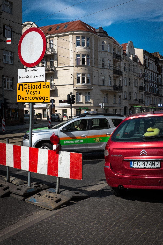 Straßenabsperrung und Straßenmeisterei in Posen