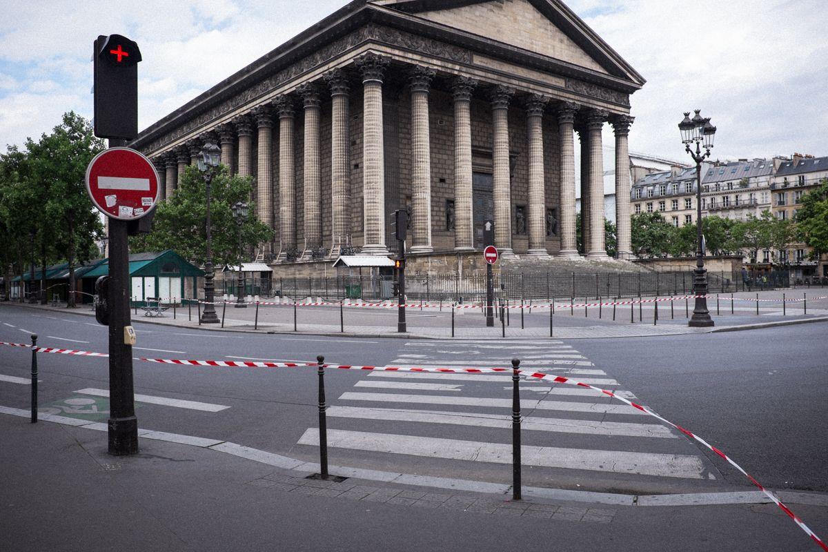 abgesperrte Straßen rund um La Madeleine in Paris