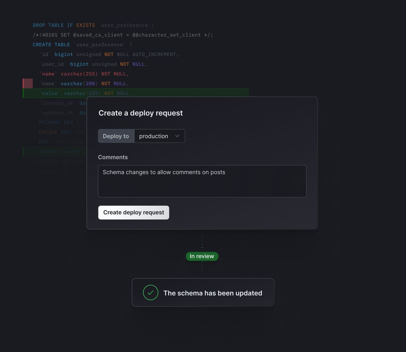 Deploy Request in PlanetScale dashboard