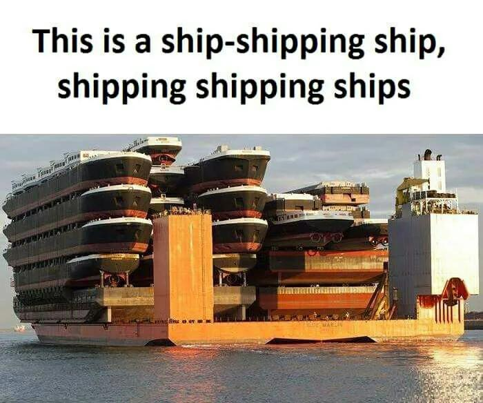 Text that says, This is a ship-shipping ship, shipping shipping ships, with a picture of ships on ship on ships