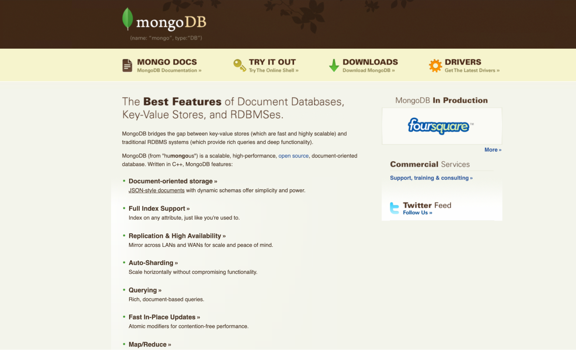 """Image of old MongoDB website, """"The Best Features of Document Databases, Key-Value Stores, and RDBMSes."""""""