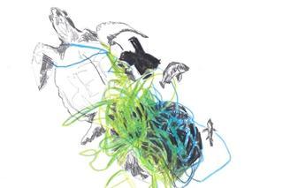 Afval kleurpotlood en inkt op papier