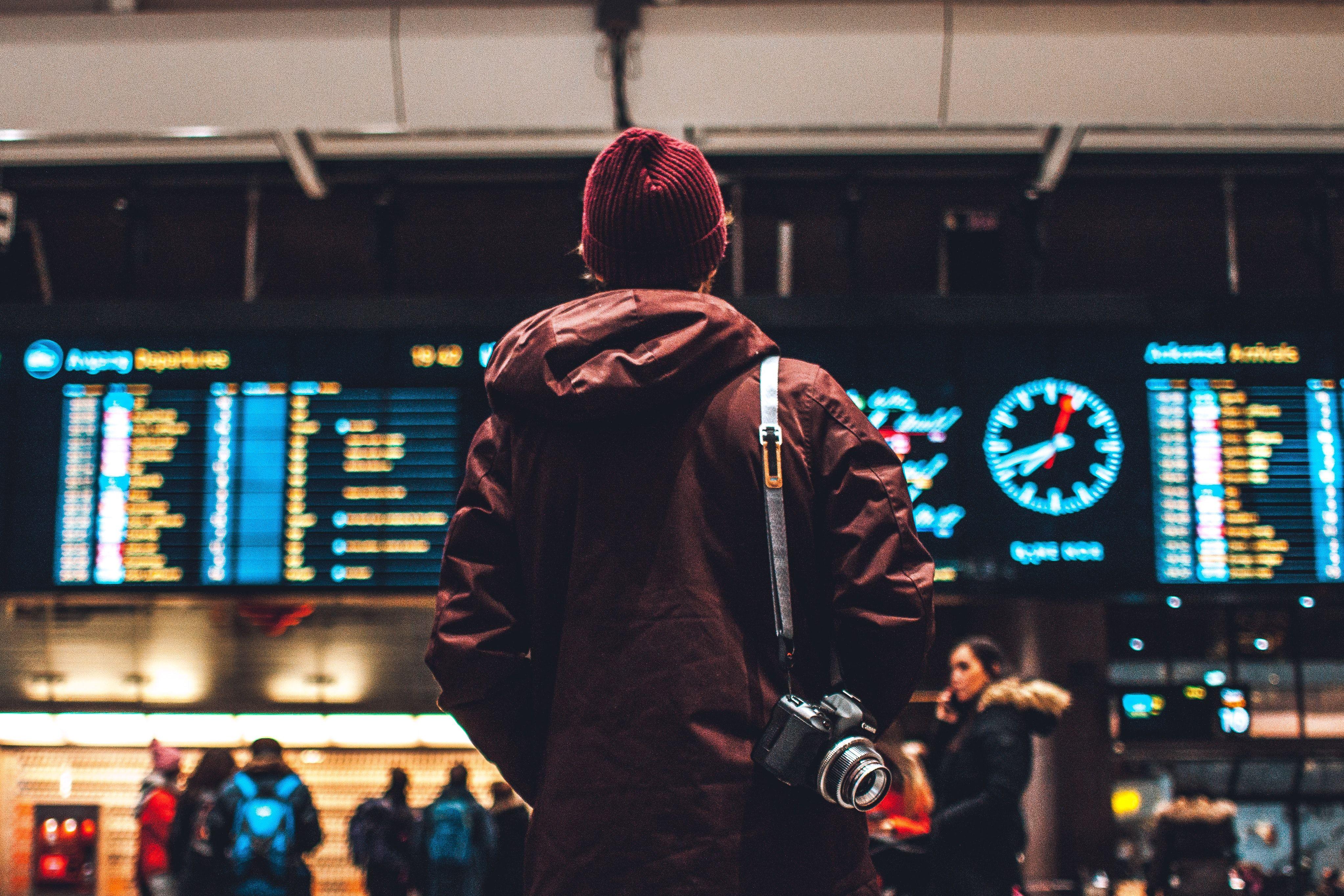 Man on train station