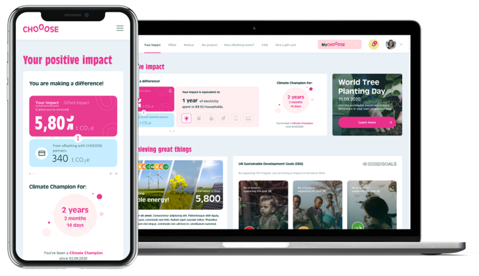 Partners of CHOOOSE can invite their customers to engage with their impact through a logged-in experience post-purchase through MyCHOOOSE- providing complete transparency.