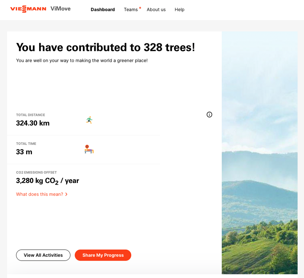 The app enables you to keep track of your exercise - and trees planted