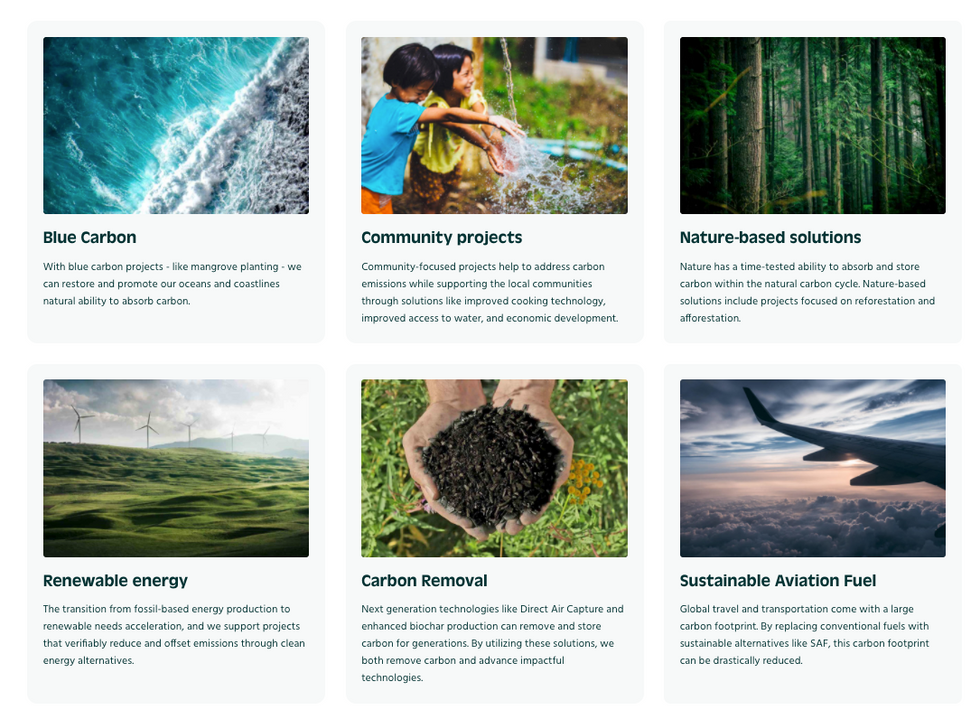 From carbon removal to Nature-based solutions to sustainable fuels, CHOOOSE offers updated access to diverse climate solutions from which customers can select to power their climate compensation or offset initiatives.