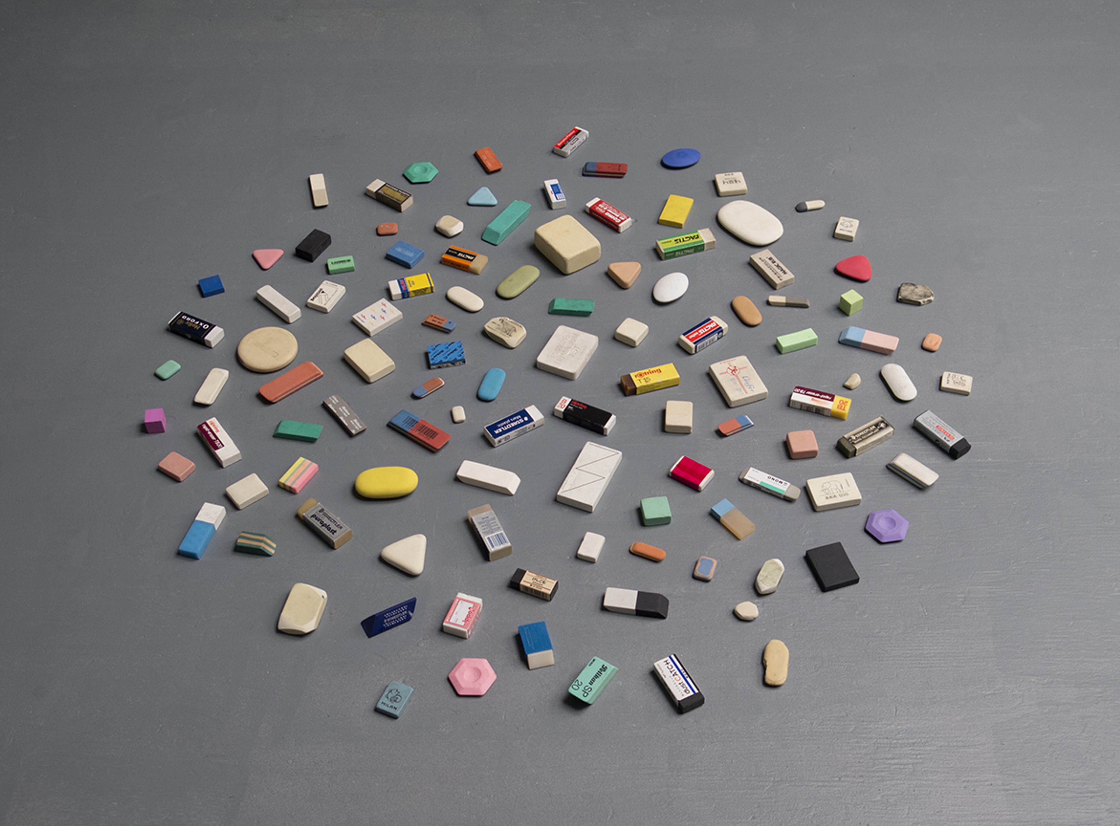 Erasers archive built through multiple gifts received by the artist.