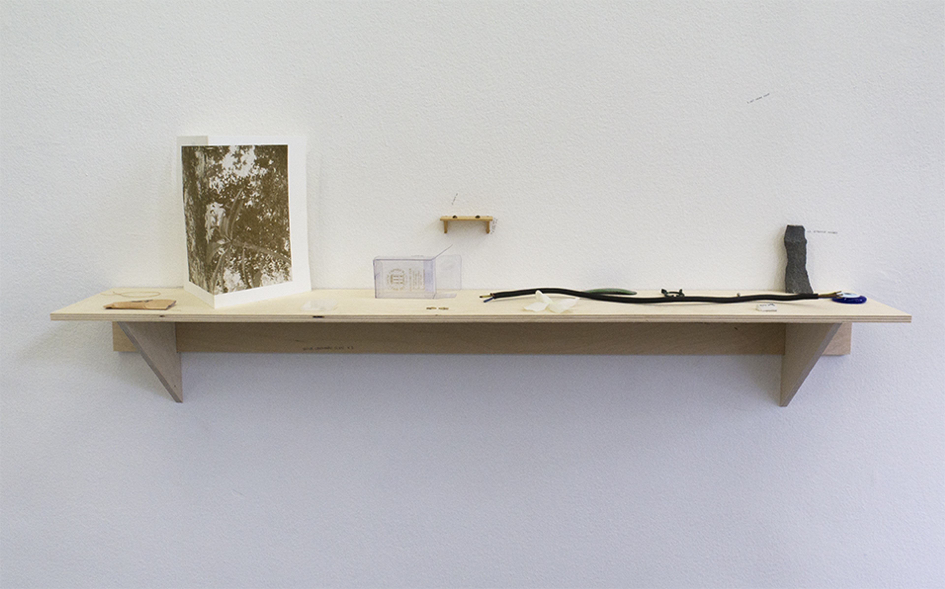 Jan Van Eyck, Maastricht, The Netherlands.  A shelf installation is made by using the hints of the quick crossword Nº13.692. Each hint is associated with one object in the display. Presented for the exhibition Betwixt and Between. Curated by Docus van der Made and Veerle Spronck