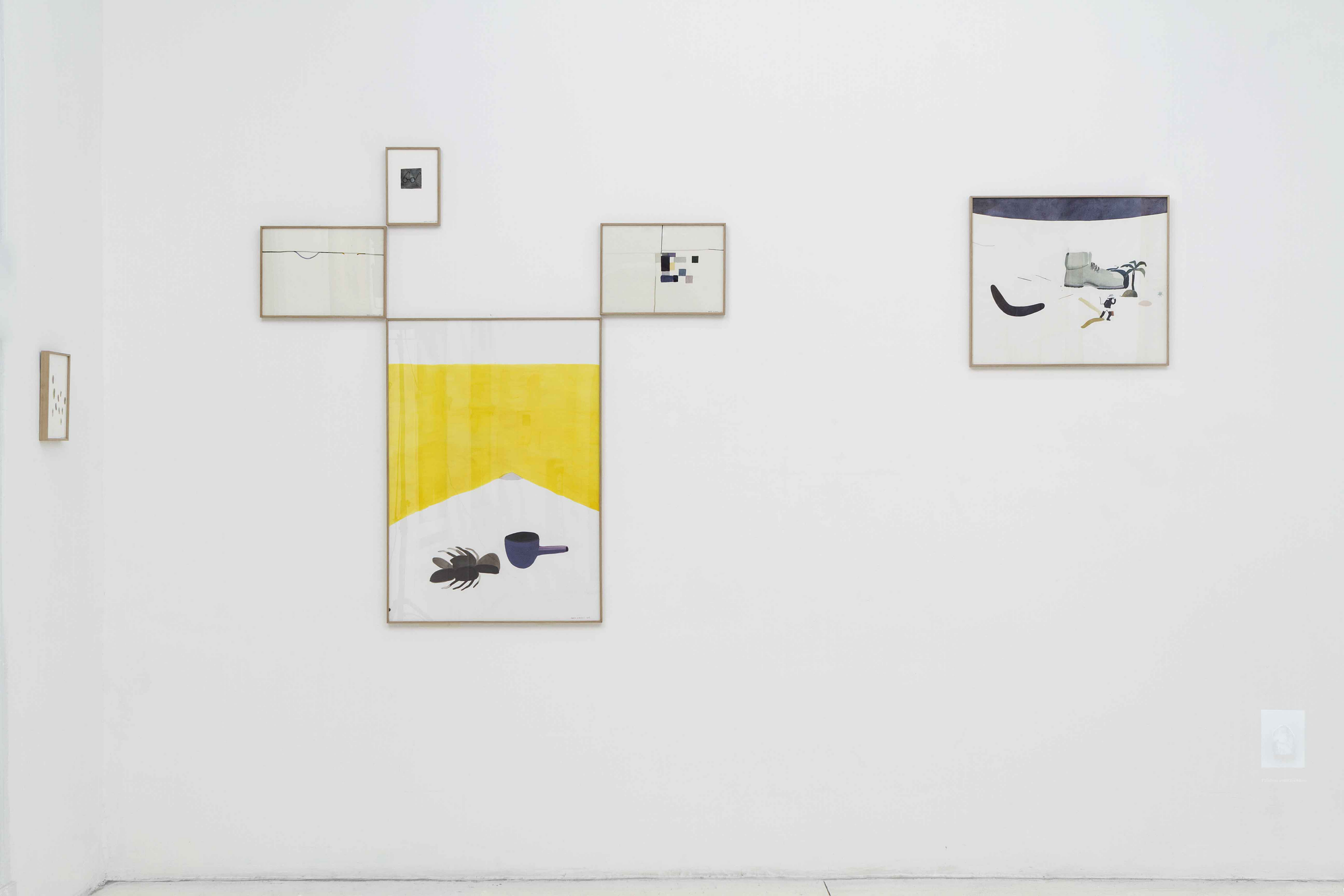 Die Ecke Arte Contemporáneo, Santiago de Chile.  Installation view. The crossword No 13.692 is used to reorganize and rename a group of drawings.