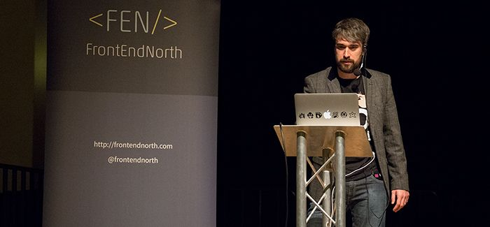 Picture of Phil Lennon speaking at Frontend North Conference
