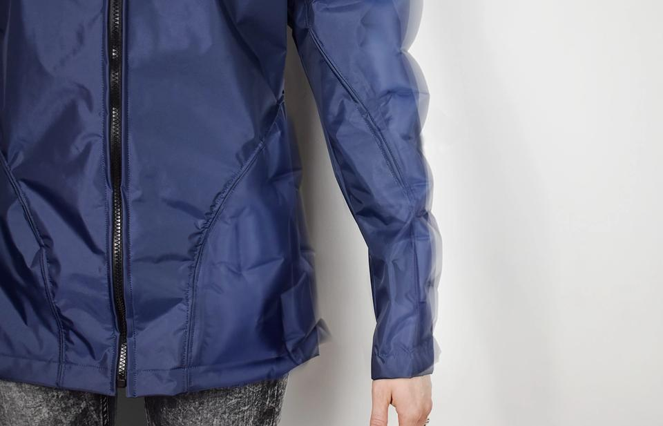 Detail — Pneu-tex discreetly protects those prone to injury from falls. Integrated portions of the jacket inflate to protect the hip and arm.