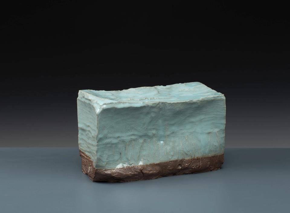 'Ice Block I' — Local Clay - Purple iron clay Traditional Celadon (blue/green) glaze