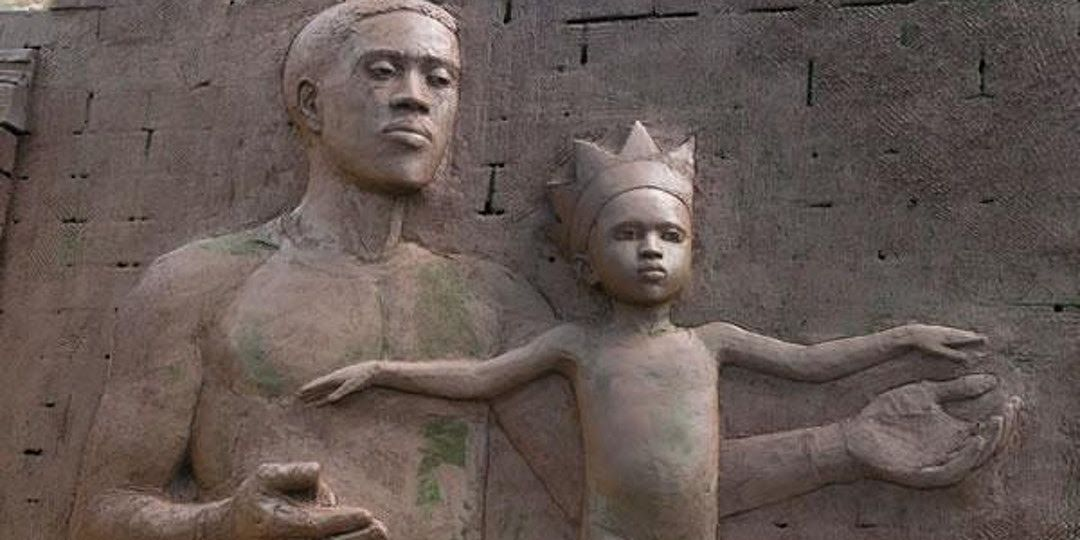 Valda Jackson, All Our Tomorrows - Father and child (detail), carved brick