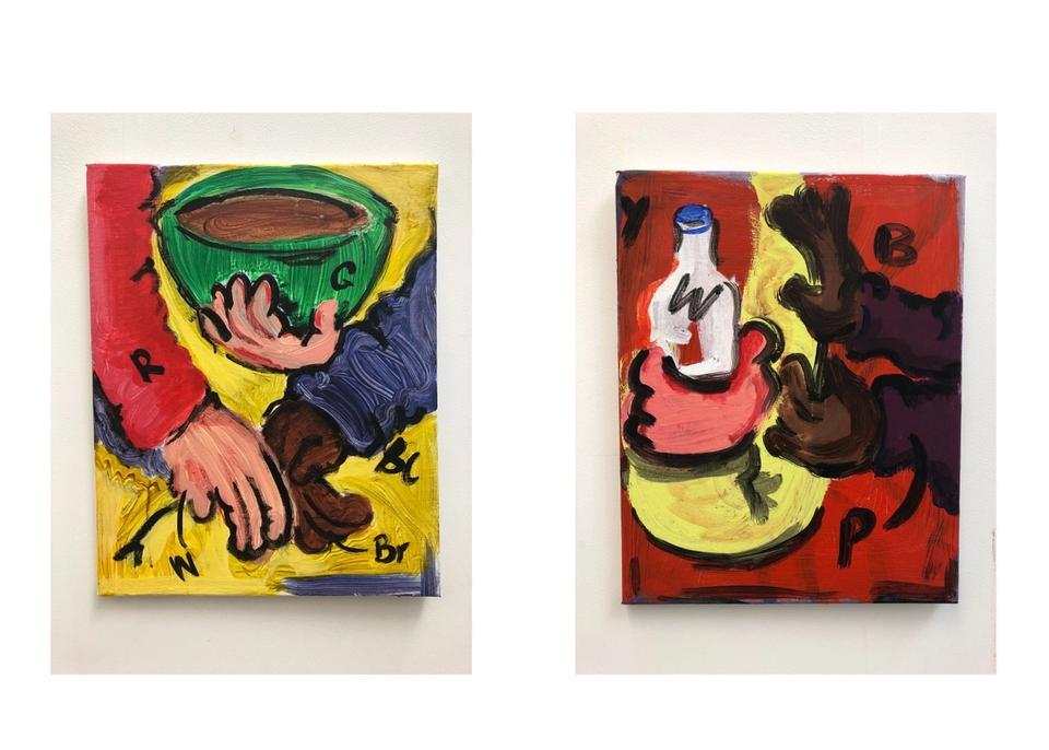 Double Cream 4 and 3 — Double Cream 4 - acrylic on canvas, 50 x 40m Double Cream 3 - acrylic on canvas, 50 x 40m