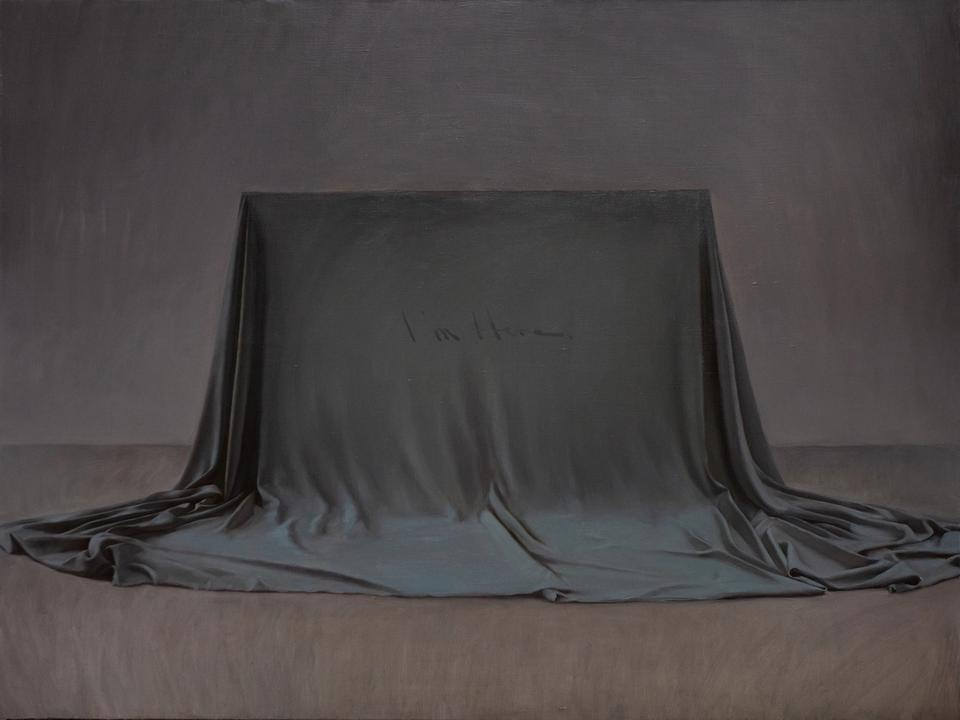 Where am I — The stretcher covered with grey-green fabric is the painting itself that in front of the viewer, the artist tries to realise the contradictory concept of 'presenting a hidden painting'. He tries to indicate that the text itself in the painting is also the questioner who asks 'where am I' in the title. The answer may be the fabric in the painting (i.e. the printing or embroidery existing on the fabric), or the canvas itself of the whole painting (i.e. the text in the painting could also be a piece of pigment attached to the canvas as a material attribute). Then the content 'I'm here' becomes the answer to the question in the title. The word 'here' not only implies the two possibilities mentioned above, but could also be endowed with more likelihoods such as a particular context (studio, exhibition hall, online virtual space, etc) that the painting stays. Here the image provides its own metalanguage. The form of 'Q & A' arouses the viewer's thoughts about the instability and rationality of the context where the painting object is located.