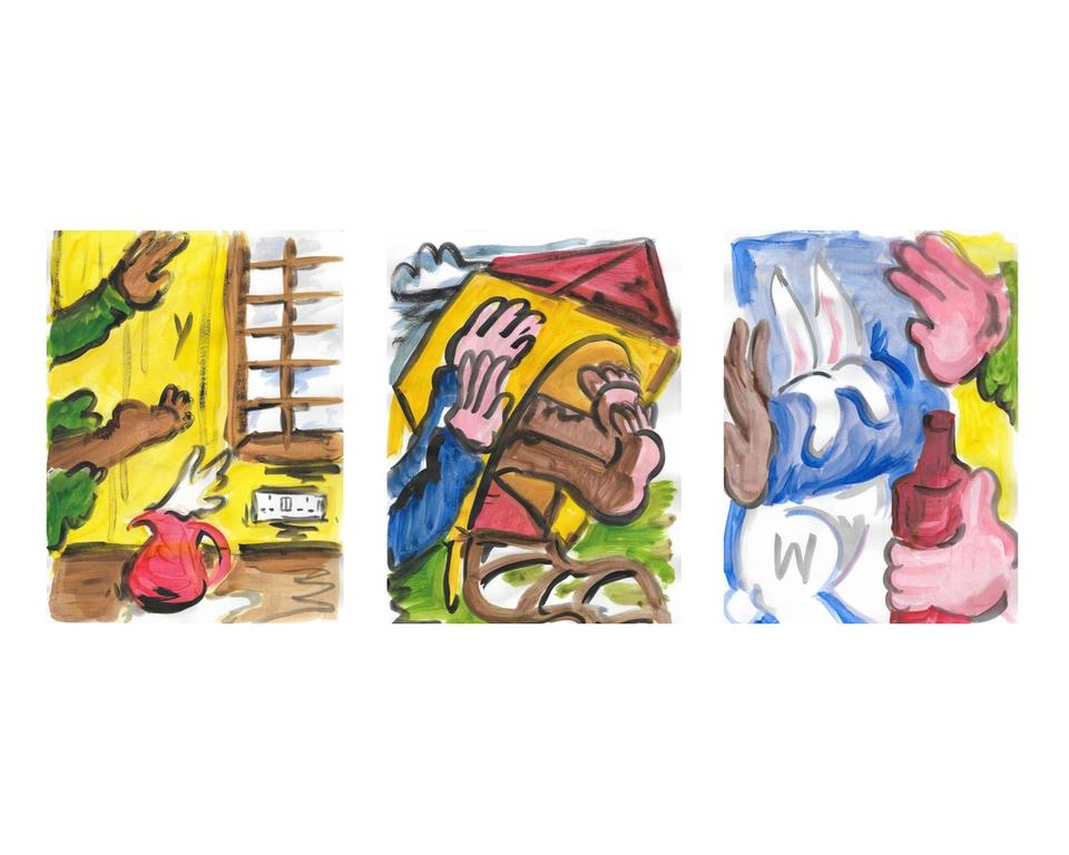 Ban Marie drawings — Ban Marie drawing series Run (2020) acrylic on paper, 21 x 29 cm House (2020) acrylic on paper, 21 x 29 cm Hold (2020) acrylic on paper, 21 x 29 cm